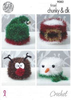 King Cole Tinsel Chunky - 9082 Christmas Toilet Roll Covers Crochet Pattern